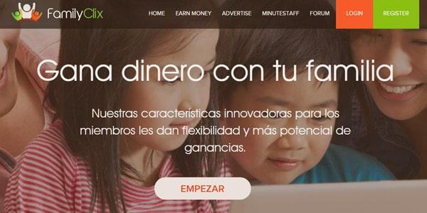 sitios ptc FamilyClix espanol ganar dinero